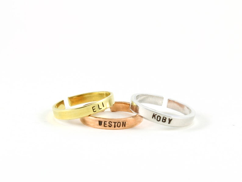 b7ac653e6 Stacking Rings Mom Jewelry Personalized Name Ring Ring   Etsy