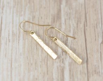 Simple Gold Earrings - Gold Earrings - Small Bar Earrings - Minimalist Earrings - Long Bar Earrings - Everyday Earrings - Dainty Gold