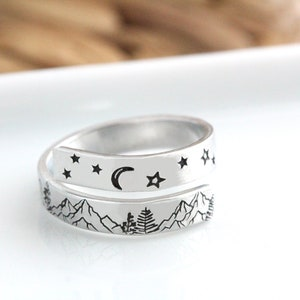Silver Nature Ring Inspirational Ring Graduation Ring Tall Version Silver Mountain Ring Mountain Jewelry