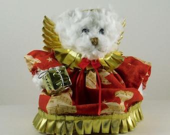 Christmas Teddy Bear Decoration, White Stuffed Holiday Bear, Angel Collectible Bear