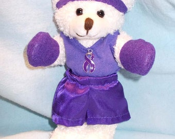 Cancer Fighter Gift/Teddy Bear Gift/Purple Cancer Gift/Pancreatic Cancer Gift/Cancer Patient Gift/Cancer Encouragement/Fight Cancer