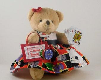 Casino Gambler Gift for Poker Player, Casino Party Decor, Gift for Casino Lover, Player Gift Casino Teddy Bear for Mom or Grandma