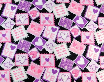 Cotton Flannel Fabric, Solid Pink, Pink and Purple with Hearts, Valentine Crafting Fabric