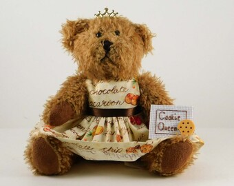Cookie Lover Gift, Cookie Queen Gift for Cookie Baker or Eater, I Love Cookies Fun Gift for Mom with Plush Brown Teddy Bear