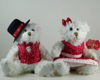 Valentine Teddy Bear Couple Gift for Wife Girlfriend Boyfriend, White Plush Bears for Valentine's Day, Valentine Décor Teddy Bear Gift