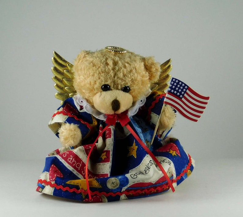 Patriotic Angel Décor for Fourth of July Americana Plush Bear image 0