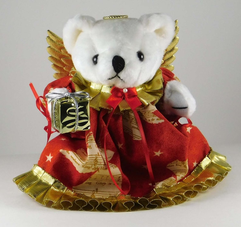 Christmas Teddy Bear Decoration White Stuffed Holiday Bear image 0