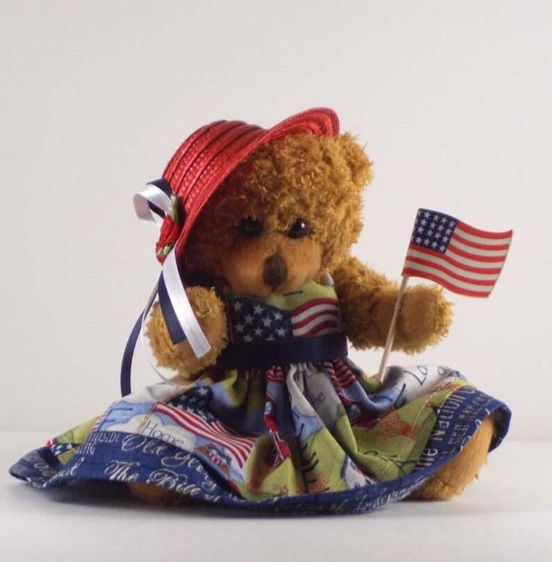 Patriotic Décor Teddy Bear with Flag 4th of July Americana Brown Bear