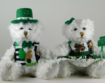 Irish Home Décor Dressed Bears in Shamrocks, St Patricks Day Décor, Holiday Party Décor or Gifts, Luck of the Irish for St. Paddy's Day