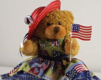 Patriotic Decor - Teddy Bear with Flag - 4th of July Decor - Americana Decor - Patriotic Gift - Country Home Decor - Americana Gift Idea