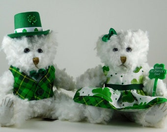 Luck of the Irish for St. Paddy's Day, St Patricks Day Décor, Irish Home Décor Dressed Bears in Shamrocks, Holiday Party Décor or Gifts