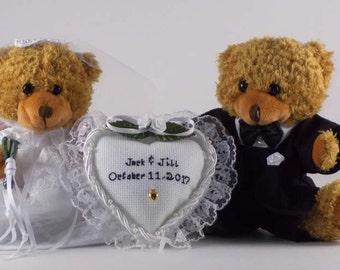 Wedding Gift Personalized / Wedding Gift Idea / Brown Teddy Bear Bride and Groom / Newlyweds Gift / Wedding Date Gift