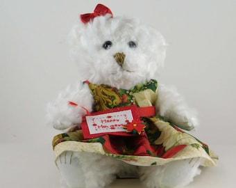 Happy Holidays Christmas Teddy Bear Decor, Festive Holiday Bear Decoration, White Plush Poinsettia Themed Bear