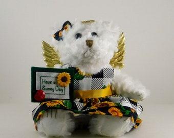 Sunflower Décor or Gift, Sunflower Angel Bear Gift for her birthday, Mother's Day Gift Home Décor, Sunflower Lover Decoration