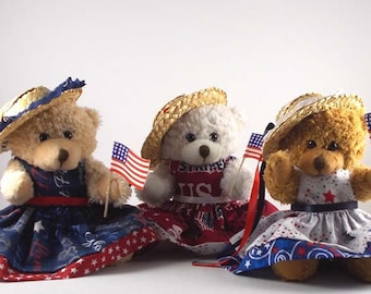 Americana Décor/4th of July Décor/4th July Decorations/Country Home Décor/Patriotic Décor/Patriotic Gifts/Teddy Bear Gifts/Fourth of July