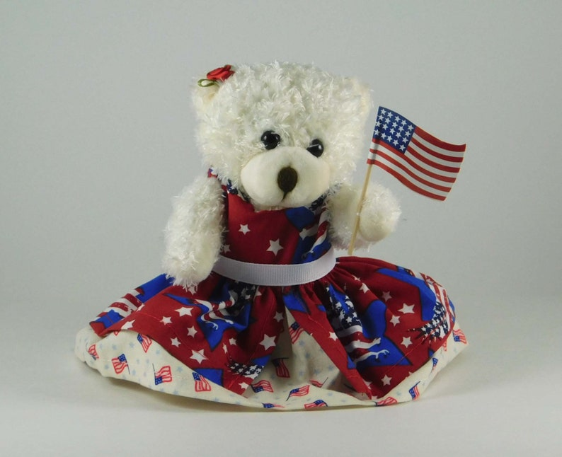 4th of July Decorations Plush Bear and American Flag image 0