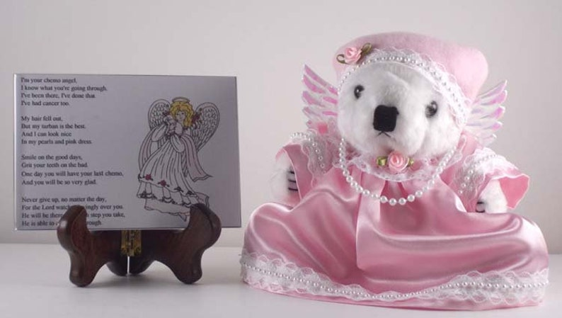 Chemotherapy Patient Gift White Teddy Bear Angel  for Breast image 0