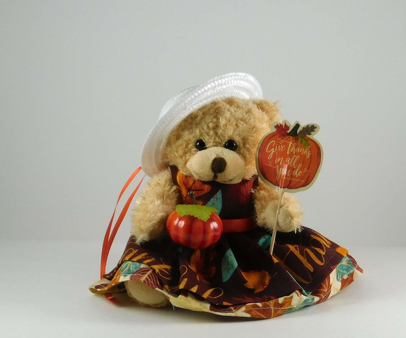 Autumn Decorations Autumn Table or Mantle Décor  Fall Bear with Pmkin Pick