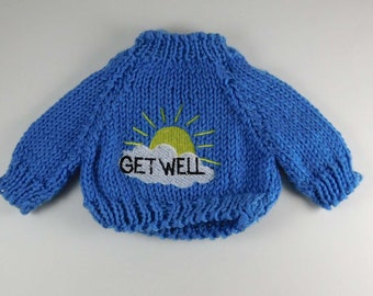 Sweaters for Teddy Bears, Get Well Sweaters in Blue