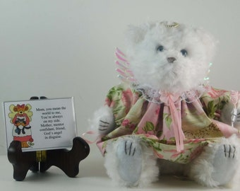 Teddy Bear Keepsake for Mom on Mother's Day or Any Day, Angel Bear for Mom with Poem, Mother's Day Gift
