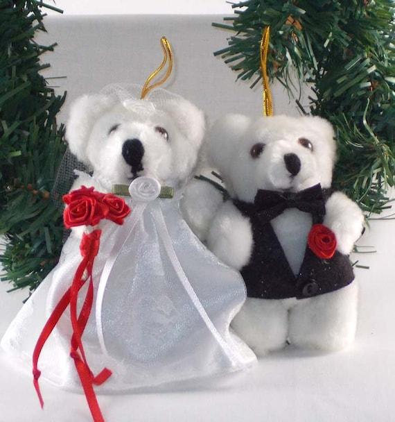 image 0 - Bride And Groom Christmas Ornament Teddy Bear Keepsake Etsy