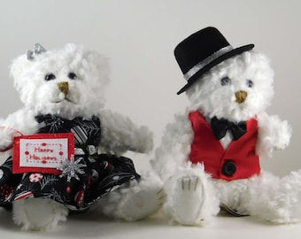 Black and Silver Christmas Teddy Bear Couple Decor for the Home, Gifts for Women, Gift Idea for Mom, Christmas White Plush Bears