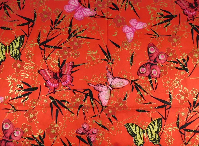 Red Butterfly Fabric Cotton Fabric with Butterflies in image 0