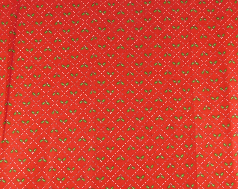 Red Christmas Fabric Cotton Fabric with Green Holly Leaves image 0