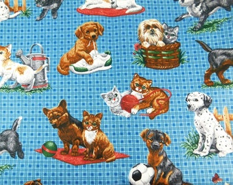 Dog and Cat Fabric on Blue, Cotton Blend Animal Print Fabric, Playful Puppies and Kittens, Large Piece of Fabric