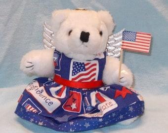 Patriotic Angel/Patriotic Bear/Patriotic Teddy/Patriotic Decoration/Patriotic Decor/Patriotic Gift/Patriotic Home Decor/Teddy Bear Gift