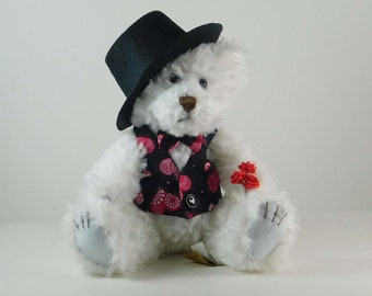 Cute Plush Bear Valentines Day Gift, Bear Gift in Black Hat for Valentine Decoration, Stuffed Bear Gift for Her Valentine's Day, Under 30