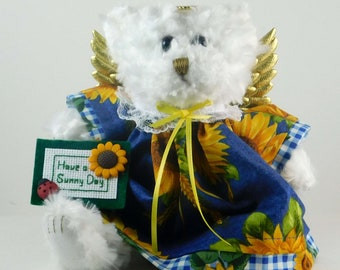 Sunflower Decor To Brighten Up Your Home, Sunflower Angel Gift, Gift for Sunflower Lover, Angel Bear as Gift to Cheer Up
