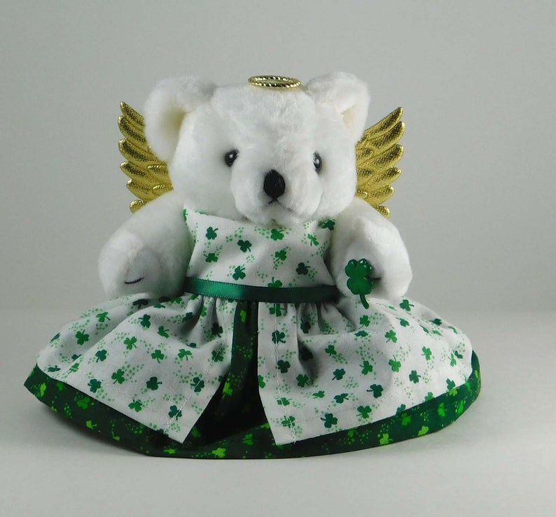 St Patrick Day Angel Decoration using Bear in Shamrocks Luck image 0