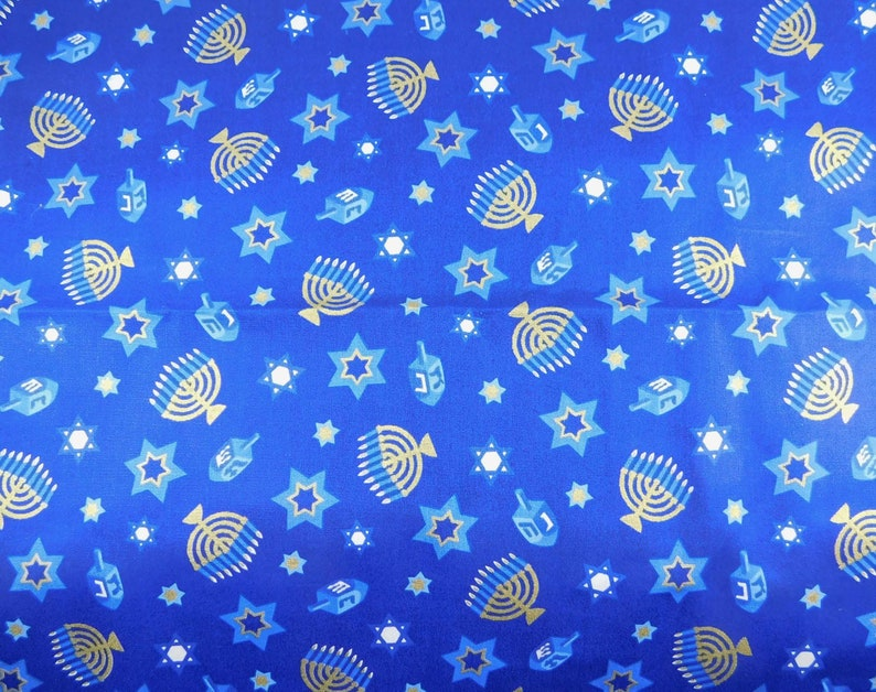 Blue Hanukkah Fabric with Menorahs and Star of David in White image 0