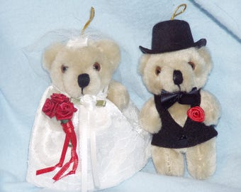 Bride Groom Ornament/Mr and Mrs Ornament/Wedding Ornament/Christmas Ornament/Keepsake Ornament/First Christmas Ornament/Teddy Bear