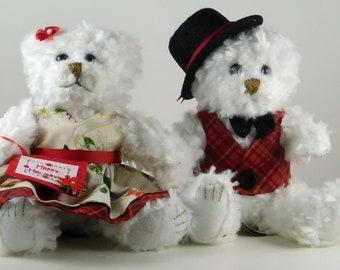 Christmas Teddy Bear Couple Decor for the Home, Gifts for Women, Gift Idea for Mom, Christmas White Plush Bears