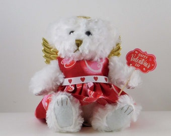 Valentines Day Gift Bear for Girlfriend or Wife, Plush White Angel Teddy Bear Gift for Her, Cute Bear Valentine's Day Decoration, Fuzzy Bear