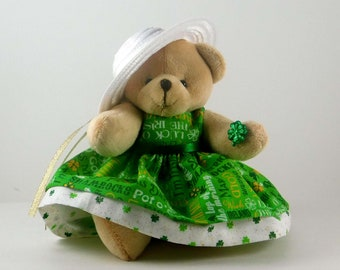 St Patrick Day Home Décor with Shamrocks and Teddy Bear, Irish Party Décor, Luck of the Irish Holiday Décor or Gift, St Paddys Day Gift
