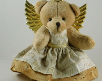 Spiritual Encouragement Gift for a Woman, Inspirational Angel Gift and Religious Home Decor, Beige Plush Angel Bear