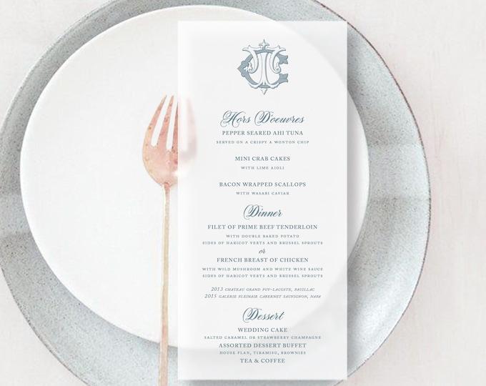 Classic Monogram Printed Vellum Wedding Menu Cards | Reception Tables Vellum Menus | Translucent Vellum Menus