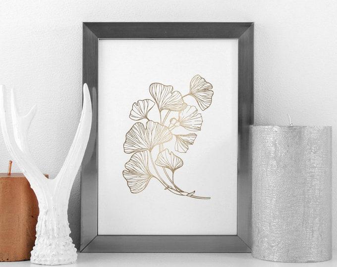 Ginko Leaf Foil Pressed Art Print