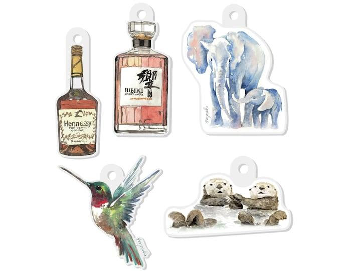 Acrylic Watercolor Keychains | Hummingbird Elephant Sea Otter Henny Hibiki