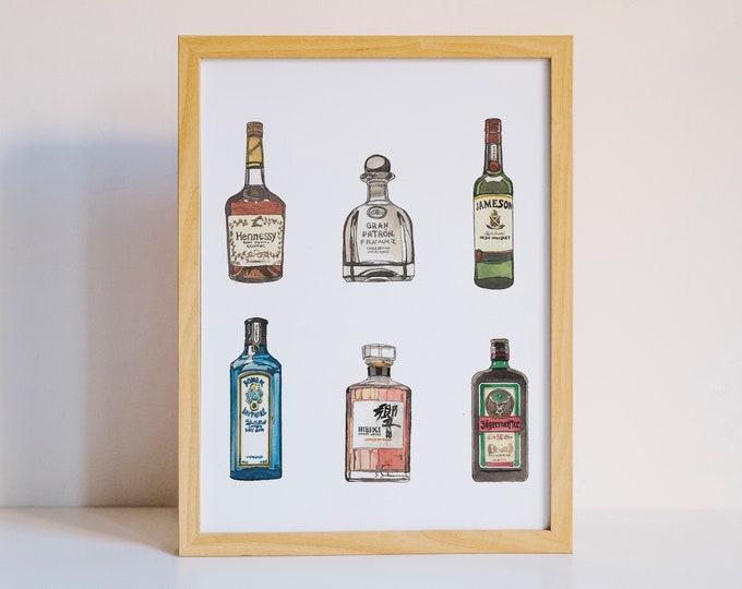 Alcohol Art Print | Single Bottle | Watercolor Print