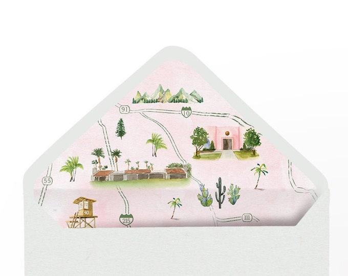 Watercolor Map Envelope Liners