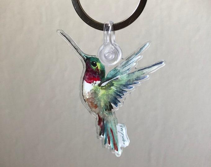 Acrylic Watercolor Hummingbird Keychain
