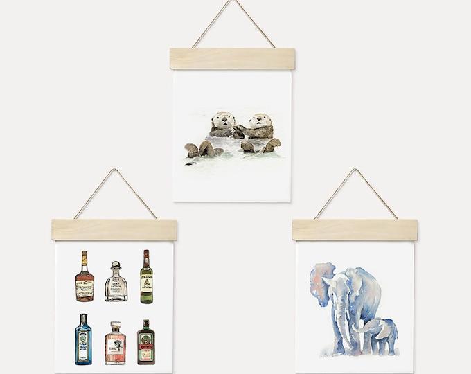 Otters | Elephant | Alcohol Watercolor Wood Hanger Board Art Print