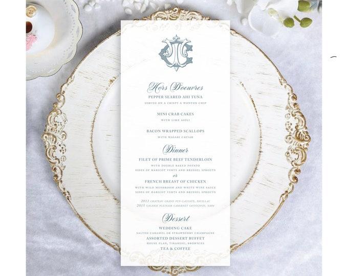 Classic Monogram Printed Vellum Wedding Menu Cards   Reception Tables Vellum Menus   Translucent Vellum Menus