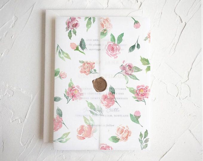 Watercolor Peonies | Green Leaves | Vellum Jacket