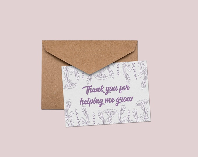 Thank You for Growth Greeting Cards   Botanical