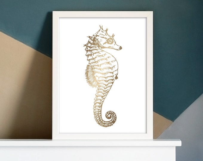 Seahorse Foil Pressed Art Print | Art Print | Home Decor